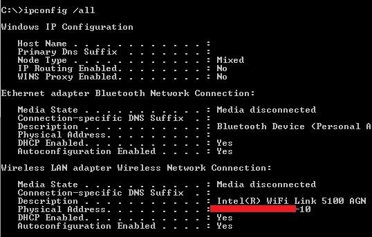 windows 7 wifi adapter mac address